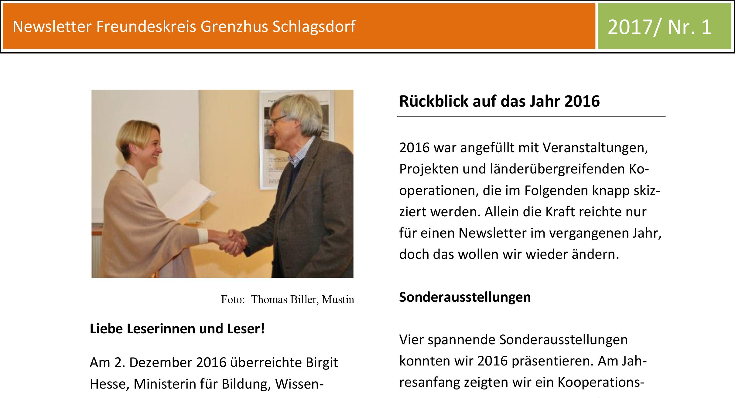 Der Grenzhus-Newsletter 1/2017