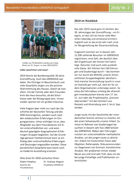 Der Grenzhus-Newsletter 2/2019