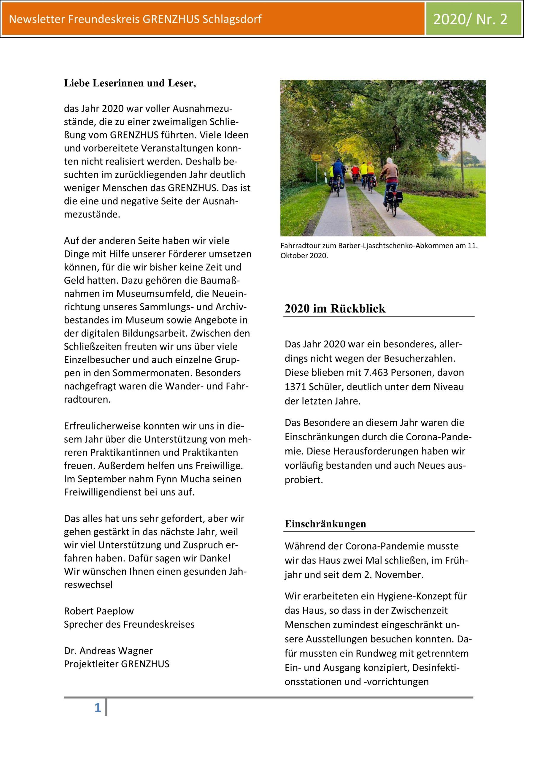 Der Grenzhus-Newsletter 2/2020
