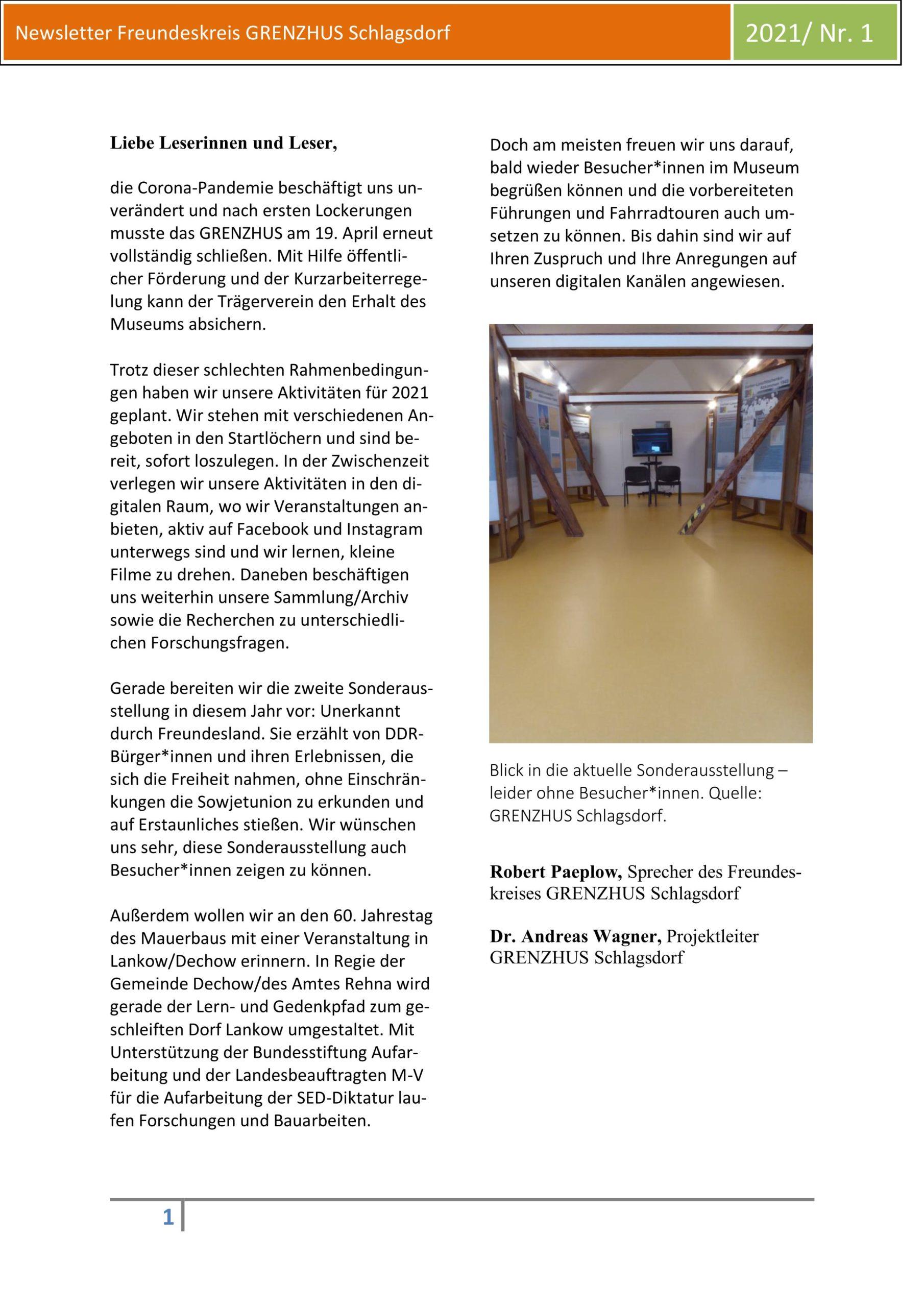 Der Grenzhus-Newsletter 1/2021
